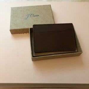 J. Crew card case in dark brown leather